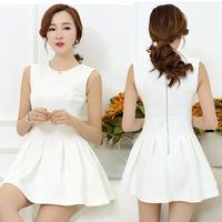 Free shipping new arrive lady summer short dress women's casual dresses white color plus size cute design S,M,L,XL,XXL,XXXL 8621