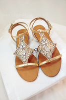 Rhinestone Sandals Shoes Peep T-sequined leather flattie Bohemia
