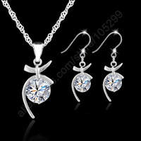 Jewelry Sets Rhodium plated 925 Sterling Silver Jewelry Pendant Cubic Zirconia CZ Necklaces Earrings Set Woman Birthday Gifts
