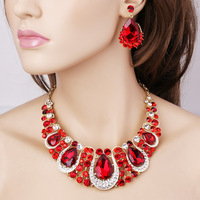 Hot Sale Free Shipping Wholesale Women Crystal Rhinestone Bridal Jewelry Set African Wedding Jewelry Set Big Necklace Earrings