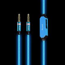 Fashion 3.5mm Visible EL Flowing Light Audio Cable  mobile phone headphones computer earphones wire control earphones
