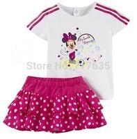 2014 New arrive Fashion Children girls summer cotton t-shirt+ dot skirt brand AD sport suit two pcs set girls100% cotton