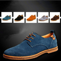 Size 38-47new Suede genuine leather shoes men's oxfords casual sneakers men Skateboard shoes flats shoes British wild men shoes