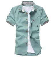 Size M-XXL Good Quality Summer Fashion Men's Mushroom Cotton Short Sleeve Casual Shirts Free Shipping LJM010