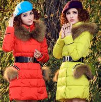 Free shipping, New 2014 Winter Down Jacket Women's cat ears raccoon fur hood parka cute coat loose outerwear  JZM001