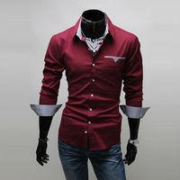 Size M-XXXL Fashion Men's Cotton Slim Long Sleeve Single Breasted Casual Shirts Free Shipping LJM013