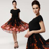 2014 Summer Women Fashion Elegant Small Batwing Sleeve Plus Size Slim Waist Flower Printed Ultra Long Belt Chiffon Dress 8011