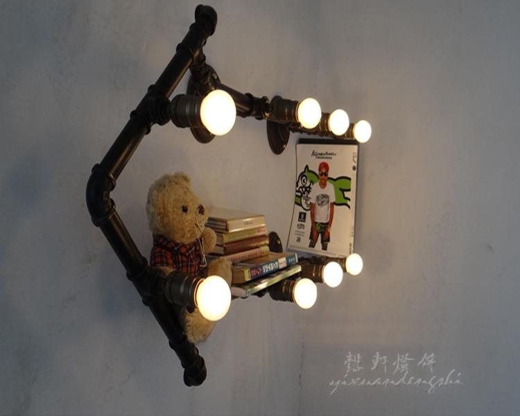 Ferrous metal pipe wall shelf bookcase lights lamps