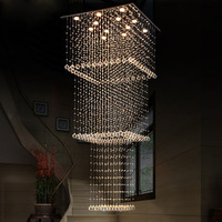 Free Shipping LED Luxury square crystal chandeliers lights villa hall foyer lobby restaurant stair crystal drop lights GU10 lamp