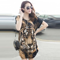 2014 new East Knitting Tiger Printed T-shirt Long Tops Womens Summer Tees Black Eyes Popular T shirt Fashion Animal Pattern New