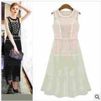 European Grand Prix 2014 summer new European and American fashion Two-piece Dress Slim Waist Round Neck Sleeveless Long Dress.