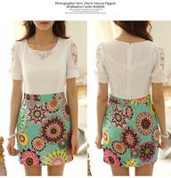 2014 summer new Fashion Women's Round Neck Short-Sleeve Printed Dress OL Professional Dress.