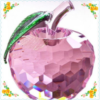 Free Shipping 80mm Romantic Pink Crystal Apple For Girl Gift Safest Package with Reasonable Price