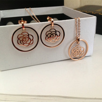 Free shipping Factory price wholesale Rosr gold plated  titanium steel jewelry sets:necklace+earring HS045W