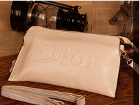 Genuine leather D*R brand famous female fashion clutch evening bag elegant banquet bag long strap European American trend