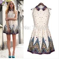 2014 New Fashion Vintage Spring Ssummer Print Dresses Women Peter Pan Collar Sweet Party Print Dress vestidos de impressao