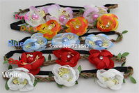 10pcs Fashion Big Size Orchid Flower Headbands Pearl Hair Accessories Bohemian Headband Hair Ornament For girls Free shipping