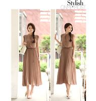 2014 new Short-Sleeved Summer Dress Women Slim Waist Was Thin Collar Bohemian Long Dress.