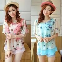 2014 summer loose chiffon top ruffle blue/pink chiffon shirt female short-sleeve puff sleeve shirts free shipping
