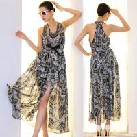 Free shipping new 2014 women summer dress chiffon long hot&sexy fashion women dresses casual beach dress vestido