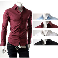 Hot sale of 2014 new solid color shirt waist design Cultivate one's morality men long sleeve shirt Four color free shipping