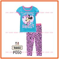 20th June Girls Minnie Mouse Clothing Set Children Pajamas Sets New 2014 Wholesale Kids Cartoon Short Sleeved Pijamas P050