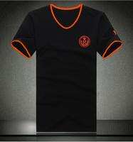 Plus size men's clothing short-sleeve heart-shaped peach v-neck T-shirt plus size color block decoration  8XL