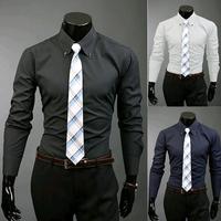 Hot selling 2014 new men casual shirt Fashion dark grain Leisure long-sleeved shirt High quality fashion shirts Free shipping