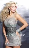 NCD49 Sexy Sheath Scoop Sequins Crystal Rhinestone Party Short Mini Silver Cocktail Dress Birthday 2014 Girl Fashion