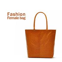 2014 summer women bags fashion women shoulder bag handbag orange ostrich big bag totes no zipper pu leather free shipping
