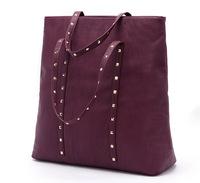 2014 summer women rivet bags fashion women shoulder bag handbag big bag totes zipper pu leather free shipping