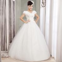 Wedding dress 2014 new fashion Korean style1 word Bubble Sleeve Puff dress was thin lace floor-length  wedding dress