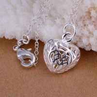 Free Shipping Wholesale 925 Sterling Silver Necklaces & Pendants 925 Silver Fashion Jewelry,Stereo Heart Pendant CP111