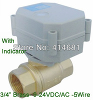 "3/4"" Brass electric valve 2 way, DN20 motorized valve 5 wires, AC/DC 9V to 24V electric ball valve with spring return"