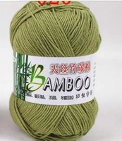 army green color knitted threads, bamboo yarn, bamboo fiber+cotton yarn,50g/roll, 500g/lot,summer yarn,soft yarn