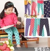 on sale new 2014 all season baby & kids girl fashion star print blue leggings children 5 pc lot  wholesale cotton casual legging