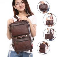 Women Vintage Laptop Messenger Bags For Girls Student School Book Bag Multifunctional Retro Handbag Folding Deformable Back Pack