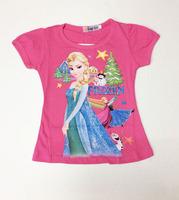 New 2014 Baby Girls Frozen Girl T Shirt Kids Short Sleeve T-shirt Children Frozen T Shirt One Piece Retail Free Shipping DA281