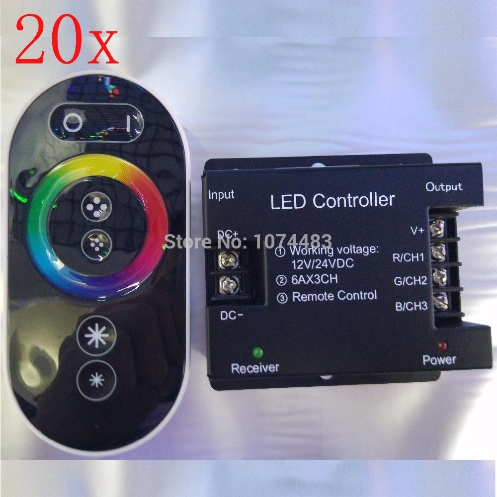 FREE DHL/FEDEX Top1 20 pcs/lot 18A DC 12V/24V RF Wireless Touch RGB controller for 5050/3528 RGB LED Strip 8117866(China (Mainland))