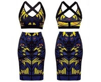 New Sexy Fashion Summer Women Two Piece Bodycon Bandage Dress Celebrity Club Party Owl Print Mini Dress DTY056
