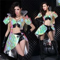 Sexy Woman Warrior Costume Club Party Dance Wear Armor Jacket/Cloak+Shorts+Glove DS DJ XS M L Free Shipping