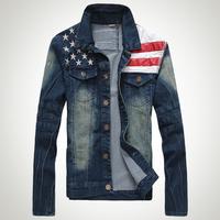 man spring 2014 American flag jean denim veste homme jaqueta chaqueta hombre Jacket for men jaket coat casaco male overcoat