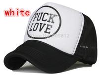 Free Shipping FUCK LOVE letters truck cap Mesh hat Korean Fashionable hats Snapbacks caps, hat circumference 55--60cm 2 color