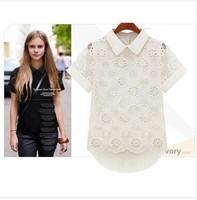 European flower embroidery brand za lace shirt chiffon top casual ladies blouses 2014 new design fashion summer women work wear