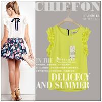 XS-XXL !! EU New 2014 fashion Summer women sleeve less casual Bow Chiffon Blouses/Summer fashion body clothing tops