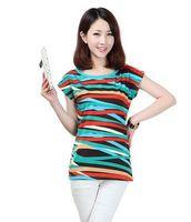 2014 female t-shirt short-sleeve summer loose o-neck t street female multicolour stripe,Free Shipping