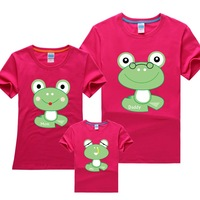 2014 NEW Free shipping fashion cotton summer family set short-sleeve t shirt for children frog pattern plus size