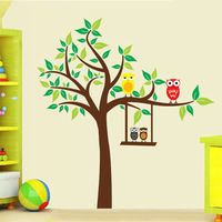 1 set 47*51 Inch Removable PVC Decals Cute Owls and Cartoon Tree Kids Bedroom Decor