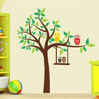 1 set 47*51 inch Magical Owl Big Tree Cartoon Paradise Kids Room Happy Time Poster