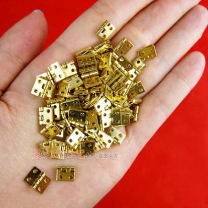 100pcs Mini Cabinet Drawer Butt Hinge copper gold small hinge 4 small hole 10*8 copper hinge(China (Mainland))